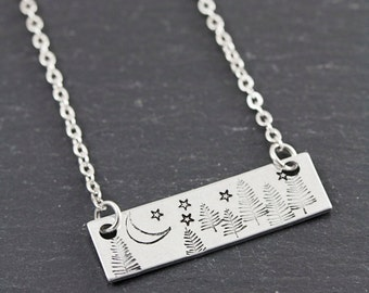 Wanderlust Jewelry - Hand Stamped Bar Necklace - Moon and Star Necklace - Tree Necklace - Unique Birthday Gifts for Her - Gifts for Girls
