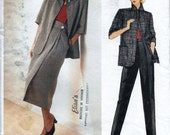Vogue American Designer 1327 Perry Ellis Women's 80s Jacket Skirt & Pants Sewing Pattern Bust 34 with Vogue Label