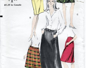 Vogue 6925 Women's 60s A-Line Skirt in Evening or Above Knee Length Sewing Pattern Waist 28 Hip 38