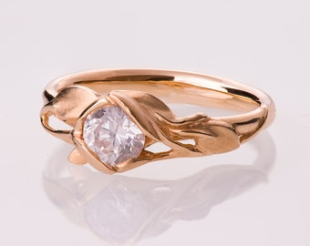 Leaves Engagement Ring No. 6 - 14K Rose Gold engagement ring, engagement ring, leaf ring, antique, art nouveau, vintage, diamond ring