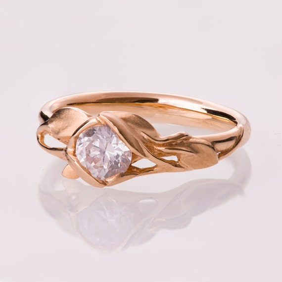 Leaves Engagement Ring No 6 14K Rose Gold engagement ring