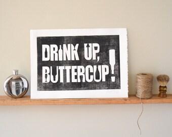 Bar Art, Bar Decor, Boyfriend Gift, Drink Up Letterpess Linocut Print, Wall Art, Home Decor, Wall, Stock bar, Hostess gift, House Warming