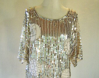 Argenti Sequin Striped Slouchy Shirt Top Glam