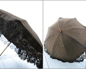 Victotorian Mourning Parasol with Lace Edging