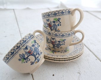1970s Sugar and Spice Ironstone Cups and Saucers, Set of 3