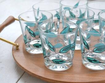 1960s Aqua Leaf Lowball Glasses, Set of 8