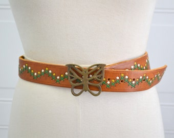 1970s Brass Butterfly and Hand Made Leather Belt