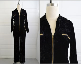 1970s Black Crushed Velvet Zipper Front Jumpsuit