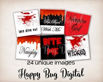 """Vampire Halloween Digital Collage Sheet - 7/8"""" inch Squares for Glass Tile Pendants INSTANT DOWNLOAD"""