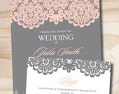 Blush and Grey Lace Rustic Vintage Wedding Invitation Response Card - Design only / Digital Files