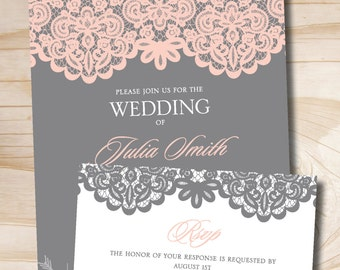 Blush Pink and Grey Lace Rustic Vintage Wedding Invitation Response Card Invitation Suite