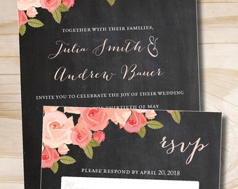 Watercolor Roses Chalkboard Wedding Invitation and Response Card Invitation Suite