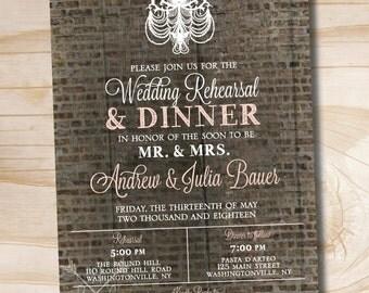 Rustic Brick and Blush Chandelier Rehearsal Dinner Invitation - Printable digital file or printed invitations