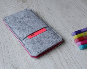 Microsoft Lumia 950, Lumia 950 XL sleeve case cover pouch handmade light felt and pink with pocket