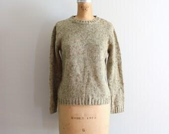 celery green crewneck sweater - avacado & pumpkin marled yarn / Haband - vintage 80s sweater / 80s preppy sweater - olive green sweater
