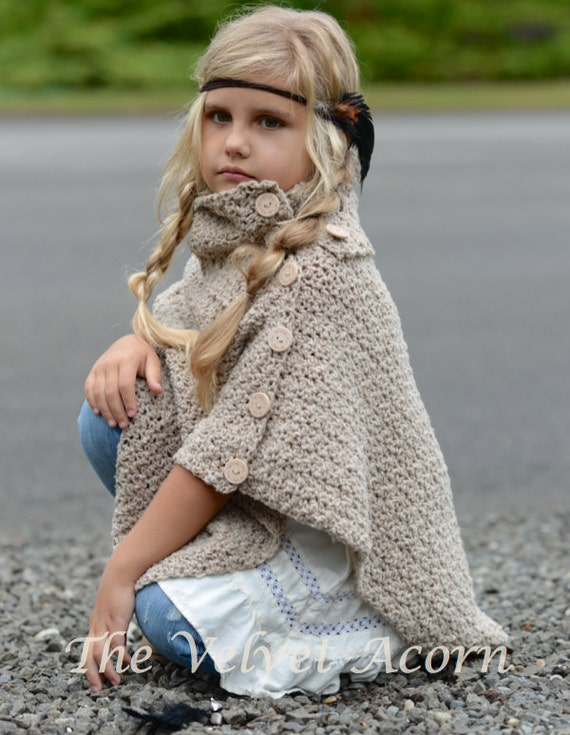 Crochet Pattern The Timberlyn Poncho Toddler Child Teen And