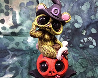 Broomhilda the Bunny Witch Cute Halloween Cake Topper Gothic Polymer Clay Handmade Sculpture Figurine