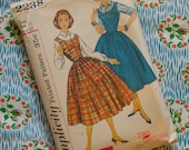 Vintage 1950s Sewing Pattern / Full Skirt Jumper Pinafore Dress and Blouse / Simplicity 2238 / Size 12 Teen - 32 Bust