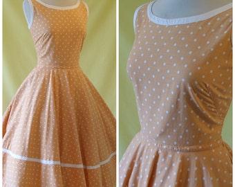Horrockses Fashions 1950s Dress / 50s Summer Dress / Polka Dot Print / Full Circle Skirt / S Small