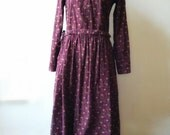Vintage floral cotton bordeau red oxblood long sleeve maxi dress. Size medium or 36 38 european