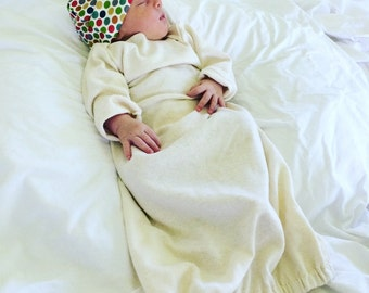 Newborn Gown - Hemp Organic Cotton Jersey - Organic Baby Gown - Gender Neutral - Eco Friendly - Ready to Ship
