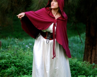 Red Riding Hood Cape - Cloak - Halloween Costume - Women - Organic Cotton - Eco Friendly