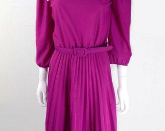 Original Vintage 1980s Magenta Bib Dress UK Size 12