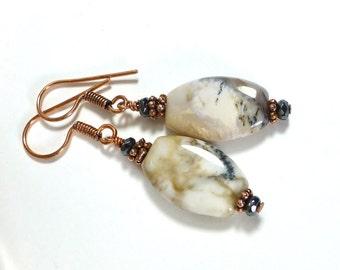 Natural Agate Earrings, Copper Earrings, Dangle