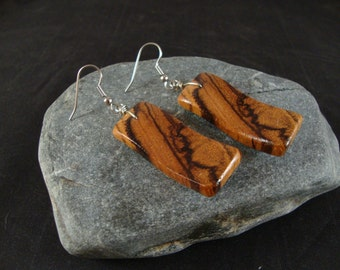 Wooden Dangle Earrings - Zebra Wood - Natural and Eco Friendly Jewelry- Wavy