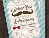Mustache Bash Baby Shower Invitation - DIY Printable File