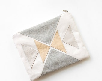 Triangles Leather Cotton Pouch  No. Zps-7100