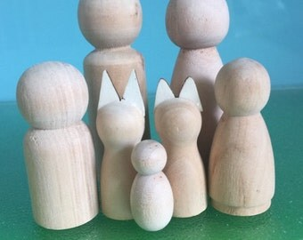 PEG DOLL FAMILY with Cat and Dog***D I Y Wooden Peg Doll Family**Steiner Toys**Waldorf Dolls**Includes paint and paint brush**D I Y Craft