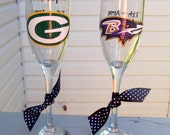NFL flutes, Agree to Disagree toasting flutes, wedding flutes, sports fan, opposing team flutes, football flutes, hand painted flutes