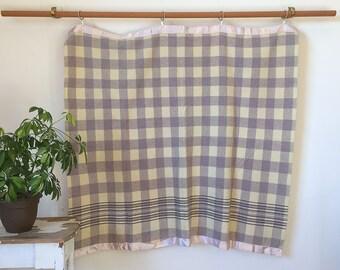 Vintage 50's Pale Green & Cream Wool Camp-style Plaid Blanket -SWEET