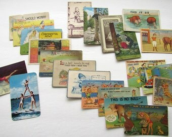 Lot of 22 Silly Antique Postcards, 1910s to 1950s