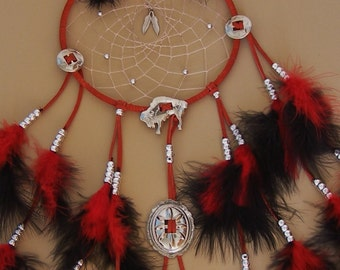 HOLIDAY SALE Red & Black Buffalo Concho Dream Catcher- 7 inch