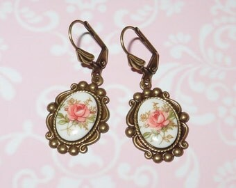 Cameo Earrings - 'VINTAGE ROSE' - Antique Gold and Pink - Made with Trinity Brass and Vintage Cabochons - Vintage Inspired