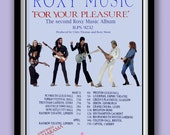 Roxy Music Poster. For Your Pleasure album tour promo. 70s rock poster. Rock wall art.Album art . Classic album poster. Glam rock poster.
