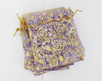 """Purple and Gold Organza Bags Rose Print 4"""" x 4 3/4"""" Premium Favor Bags 20+ Weddings / Party Favors / Jewelry Bags / Trade Shows"""