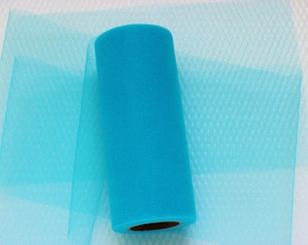 Rich Turquoise Tulle 6 Inches Wide 25 Yards Long / Weddings / Showers / Parties / Decor / Sewing