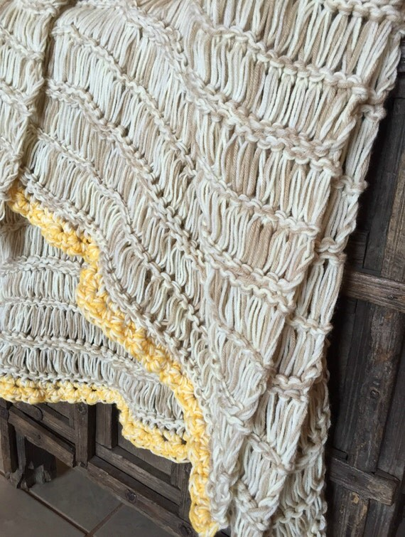 Rustic Modern Home Decor Knit and Crochet Blanket Throw Afghan Beige, Cream, Ivory Knit and Crochet Afghan Blanket