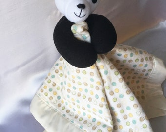 Yellow Panda Plush Blankie - Super Cute Security Blanket with Fleece Panda.  Your child can have their plush and blankie together in one.