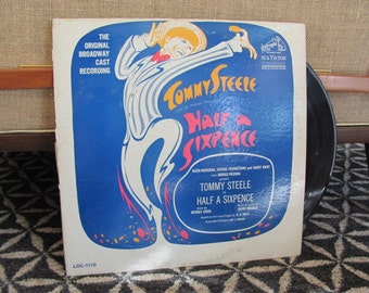 """Vintage 60's """"Half a Sixpence"""" Original Broadway Cast Recording Vinyl Record Album - 1965 - Tommy Steele - Musical - Kipps - 60's Record"""
