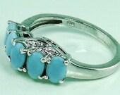 Peruvian Blue Opal,  White Topaz Ring