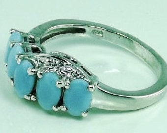 Peruvian Blue Opal,  White Topaz Ring