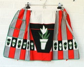 Vintage Tulip Apron - Red, Green, Black - Cotton Half Apron with Flowers in Pots  - Unused Novelty Half Apron by Admiration