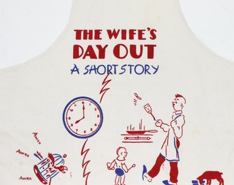 Vintage Apron for Dad - Wife's Day Out - Dad Struggles - Red and Blue - Parent Stereotypes Cartoon Novelty Gag Gift on Full Butcher Apron