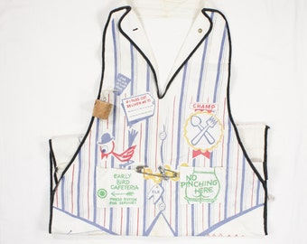 Vintage Bartender Apron - Vest with Jokes - Novelty Cartoon Apron for Dad by Parvin Creations - RWB Red White Blue on Heavy Canvas