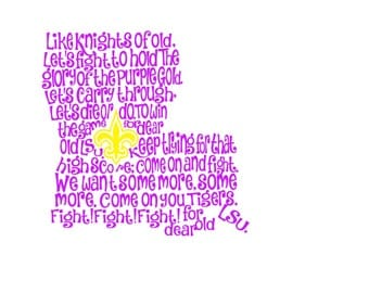LSU Tigers Louisiana Fight Song SVG, Print, and Silhouette Instant Download