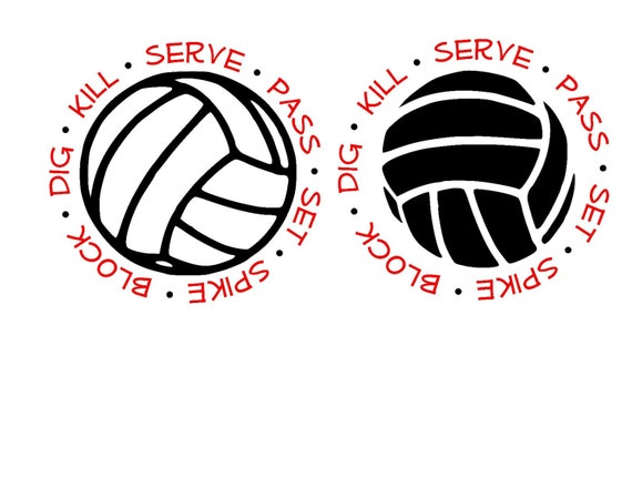 Volleyball Serve Set Spike Block Dig SVG or Silhouette
